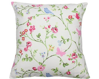 Chintz Bird Trail Clarke and Clarke Floral Fabric Vintage Shabby Chic Cushion Cover