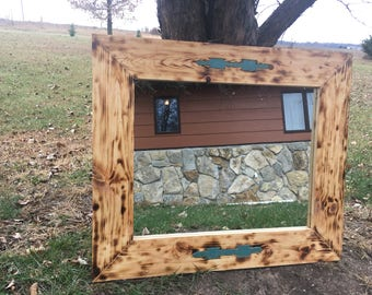 Rustic mirror with turquoise