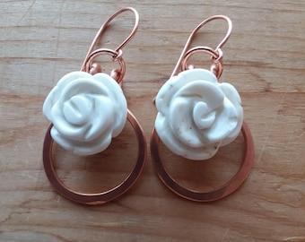 White Howlite Carved Flowers Copper Frame Earrings