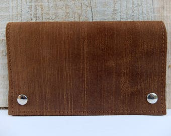 Vintage tobacco pouch, tobacco Tan nubuck leather pocket for leaves and filters