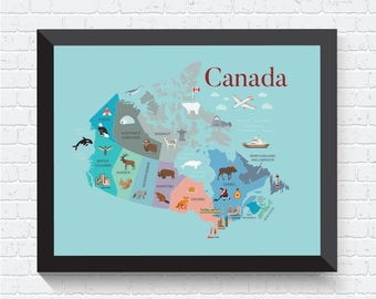 Canada Illustrated Map, Map of Canada, Animals Map, Canada Poster, Canada Decor, Canada Wall Art, Kids Map, Nursery Decor, Children Map
