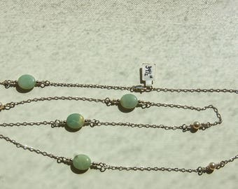 Light Green Aventurine and Swarovski Crystal Pearls and Silver necklace