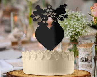 Mickey and Minnie Love Heart Wedding Cake Topper