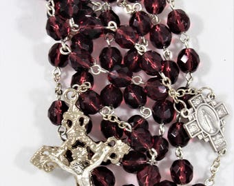 Purple Faceted Glass Bead Rosary (#170809)