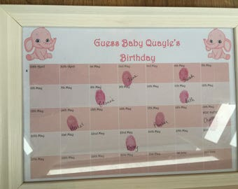 Personalised Baby Shower Print - Guess the birth date