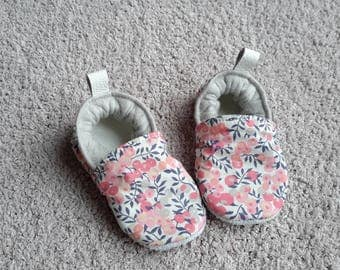 baby shoes, leather, liberty and blanket to order