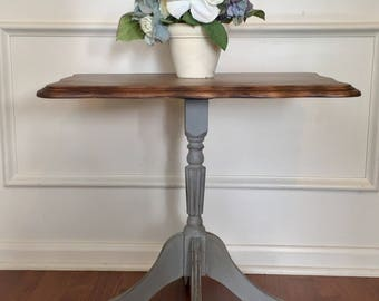 vintage french provincial gray farmhouse style distressed claw foot side
