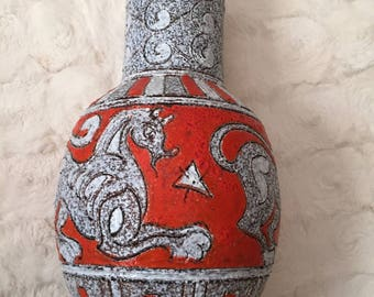 Mid Century Fratelli Fanciullacci Italian Vase with Horse Motif