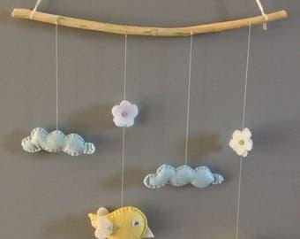 Felt baby/child birds and nuges suspension/mobile