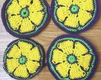 Crochet coaster pot holder - purple, yellow
