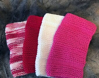 Valentine's Dishcloths - Set of 4 - Hand Knit
