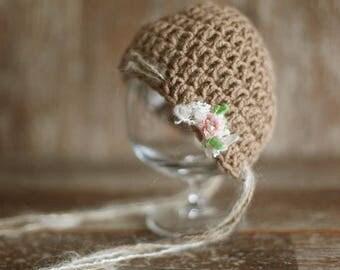 Newborn hat, wool hat, baby girl hat, crochet hat, photo props