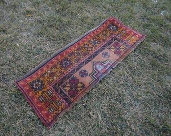 FREE SHIPPING ! Door mat,entrance rug,square rug,outdoors rug,hand made Turkish rug,vintage rug,45'' x 15''