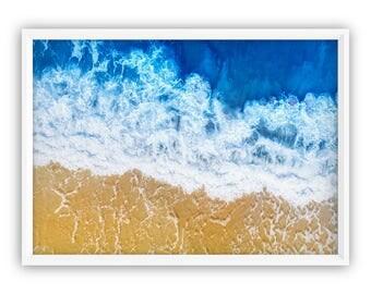 Aerial beach Art Print, Digital Prints, Modern Beach Poster, Large Beach Poster, Large Wall Art, Aerial Ocean, Aerial Beach Print, water