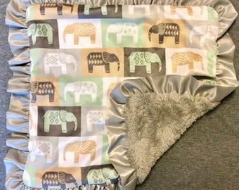 Neutral/Gray Elephant Minky Baby Blanket