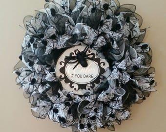 Halloween Wreath, Halloween Mesh Wreath, Spider Wreath, Holiday Wreath, Fall Wreath, Halloween Spider Wreath by Cosmic Owl Creations