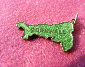 D) Vintage Sterling Silver Charm Enamelled Map of Cornwall