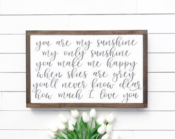 """Nursery Decor // Baby Shower Gift // Wood Sign // You Are My Sunshine 10x16"""""""