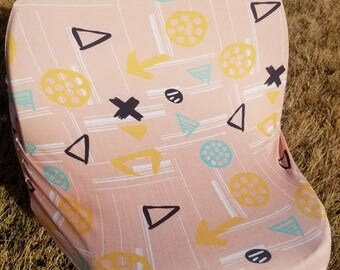 Pink X's and O's Multi-Use 4 in 1 Baby Car Seat Cover/Nursing Cover