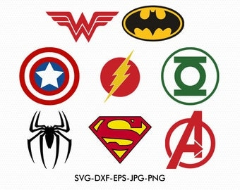 Super Heroes logos Svg, Captain America Svg, Superman Svg, Avengers Svg, use with Cricut & Silhouette