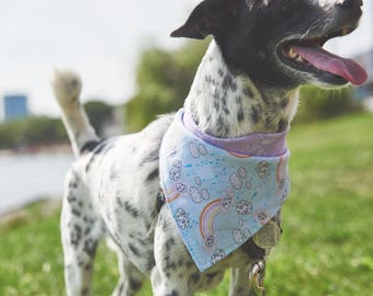 Dog Bandana | Double-sided | Rainbows and Clouds | Free Shipping to Canada