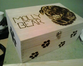 Wooden pyrography memory box