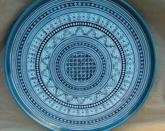 Torte Tray in Blue Marli Pattern