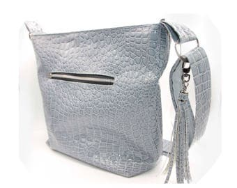 Zippered Tote Bag - Blue Gray, Crocodile, Faux Leather, Handmade, Handcrafted
