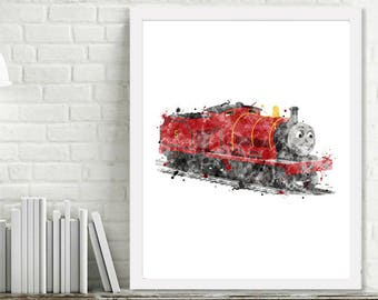 Printable James Engine Watercolor Train Wall Art, Kids Boy Room Decor, Train Art, Steam Engine Print Thomas the Tank Engine
