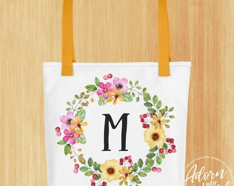 Personalized Tote Bag, Customized Tote Bag, Initial Tote Bag, Monogram Tote bag, Monogram Tote, Custom Tote Bag, Floral Tote, Gift For Her
