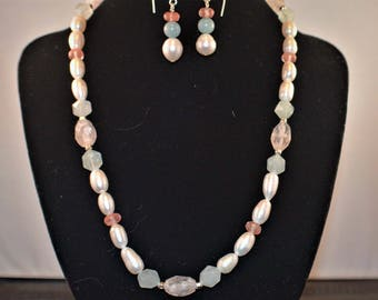 Pearl and Gemstone and Sterling Silver Necklace