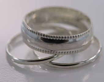 Sterling Silver Classic Polished Silver Pattern 3-Ring Set, Sterling Silver Band Ring, Stacking Rings, Solid Silver Rings