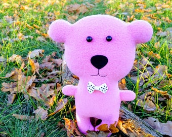 Teddy bear toy Gift for mom Kids room decor Fabric doll pink bear