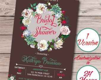 Rustic Bridal Shower Invite, Floral Bridal Shower Invitation, Wedding Shower, Watercolor Flower, Printable Invitation, Rustic, Chalk, Brown