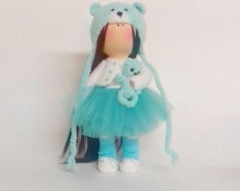 Tilda doll Interior doll Handmade doll Soft doll Textile doll Art doll Cloth doll Сolor menthol doll Fabric doll Rag doll Baby