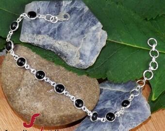 Black Onyx Bracelet, 925 Sterling Silver Bracelet, Black Bracelet, Gift For Her, Onyx Jewelry, Adjustable Bracelet, Handmade Bracelet, Gifts