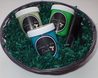 Glow in the Dark Slime Gift Basket - Blue Moon, Mother Nature Life Force & When All Other Lights Go Out Slime