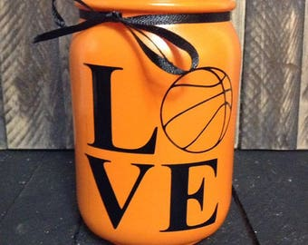 Love Basketball / Basketball Candle / Basketball Decor / Basketball Player Gift / Basketball Lover / Mason Jar Candle / Soy Candle /