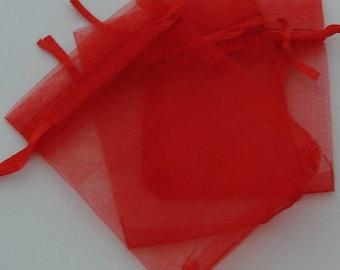 Sleeves 10 rectangular organza red 7x9cm