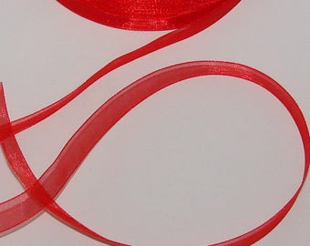 5 m organza Ribbon 12mm transparent red
