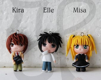 Necklace with Japanese-style Doll (mini chibi): DEATH NOTE