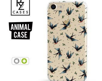 Swallow Phone Case, iPhone 7 Case, Animal Phone Case, Birds Case, Gift for Her, Tattoo Case, iPhone 7 Plus, iPhone 6S Case, iphone 6 plus