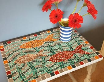 GC028U Small table, mosaic table, upcycled table, side table, occasional table, entry table, hallway table, modern mosaic, handmade mosaic.