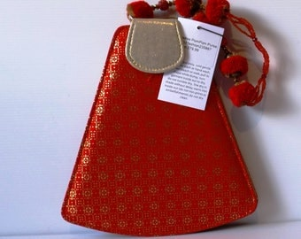 Pompom Handle Foil Printed Red Purse