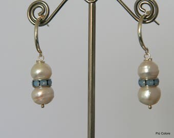 Earrings, freshwater pearls, airblue Opal, silver ear hook