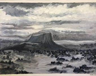 "Lonely Butte, Southwest, monochromatic acrylic painting (9x12"")"