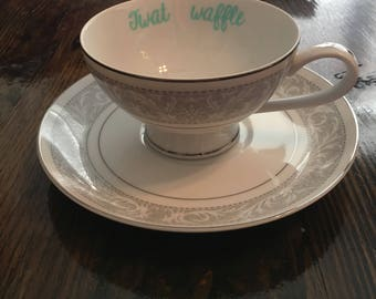 Twat Waffle vulgar footed vintage imperial china teacup with coordinating saucer