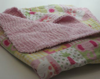 Pink Shaggy Jungle Animals Flannel Blanket with Shag Minky Backing