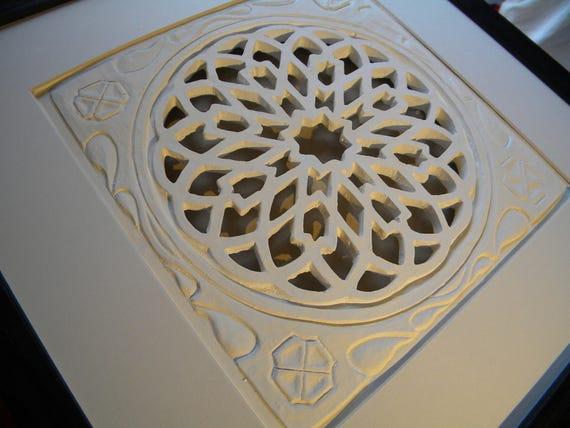 Rosace andalouse en bas relief pl tre blanc rosace marocaine for Rosace en platre marocain