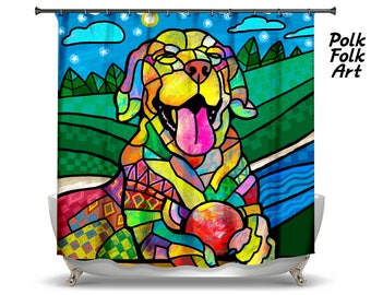 LABRADOR RETRIEVER Shower Curtain (P1722) Painting By William Polk Folk Art  Cute Funny Puppy